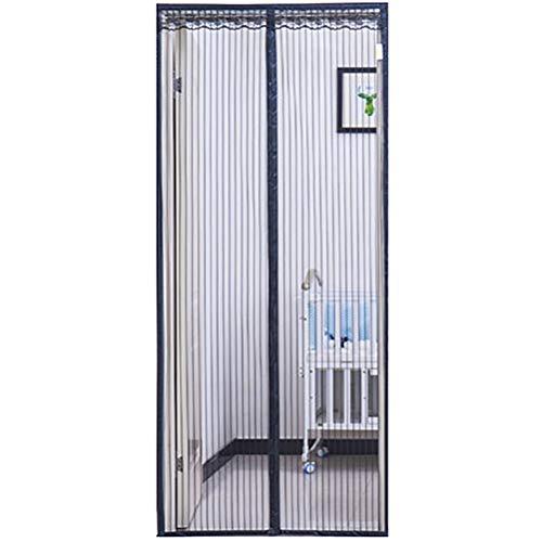 Hutupc zanzariera magnetica nera con rete ad alta densità per porte fino a 200 x 250 cm, magnetica, anti mosche/insetti/zanzare,black,140 * 200cm