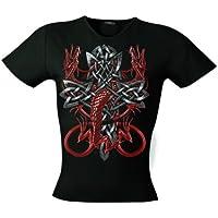 Rock Celtic Cross Dragons 701112-T-Shirt da donna