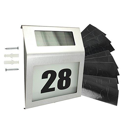 com-four Iluminación de número de casa con LED Solar de Acero Inoxidable - 4 LED con números y Letras