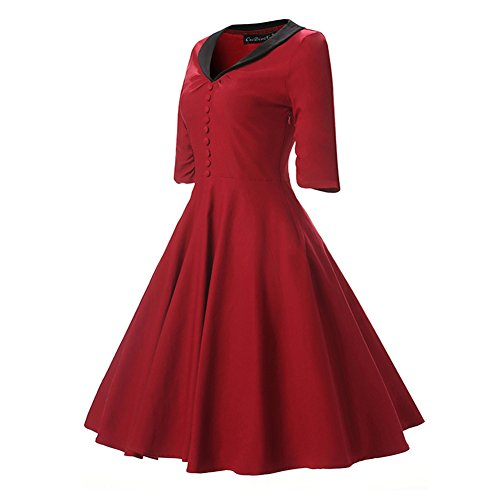 Abito Donna Vestito Estivo Scollato-V Vita Alta Vestivi da Mare Cocktail Dress Bodeaux