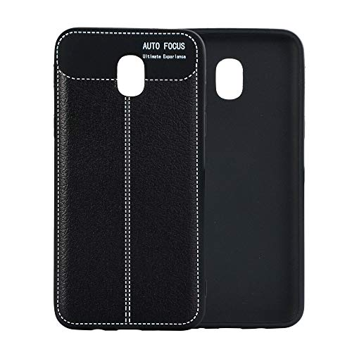 XIANGBAO-1 Hochwertige Handyhülle Mode Litschi Getreide TPU Leder Mobile case für Samsung j3 2018 usa Edition zurück Phone case (Color : Black) Usa Getreide