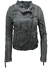 Ladies Short Nappa Leather Grey Croc Biker Jacket