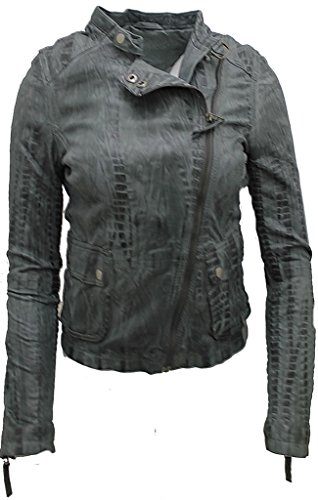 Damen Kurz Nappa Leder Grau Croc Motorradfahrer Jacke 16 (Faux Leder Croc)