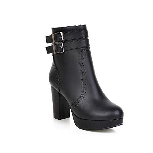 VogueZone009 Damen Hoher Absatz Ziehen auf Niedrig-Spitze Blend-Materialien Stiefel, Schwarz, 43