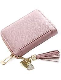 Rfid Blocking Women'S Credit Card Holder Wallet Id Holder With 2 Id Window Card Case Purse(Beanpink) By Waattor