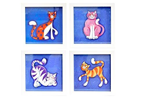 BD ART 4er Set Deko-Bilderrahmen fürs Kinderzimmer, Geschenk, Poster fürs Kinderzimmer und den Bilderrahmen, Babyzimmer Bilder, Mädchen Junge Deko, Dekoration Kinderzimmer Katzen