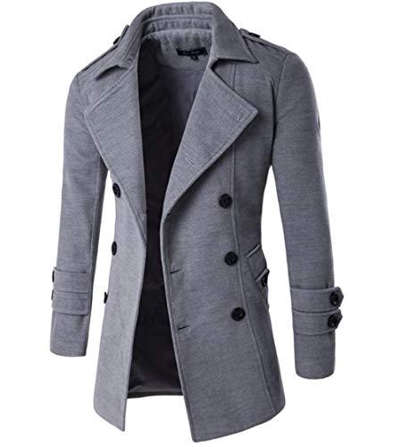 Herren Freizeitkleidung Wollstoff Mantel Winter Jacke Doppelreihiger Dick Einfacher Stil Langarm Outwea Coat (Color : Hellgrau, Size : L)