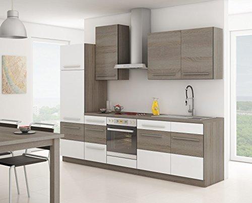 Küche Milo 280cm Küchenzeile/Küchenblock variabel stellbar in Weiss - Sonoma Eiche Trüffel