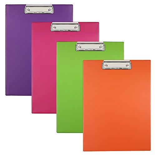 BIURFOL A-KKL-01-00 Clipboards in New Colours, 4 Stück, rosa/grass/orange/violett - Rosa Grass