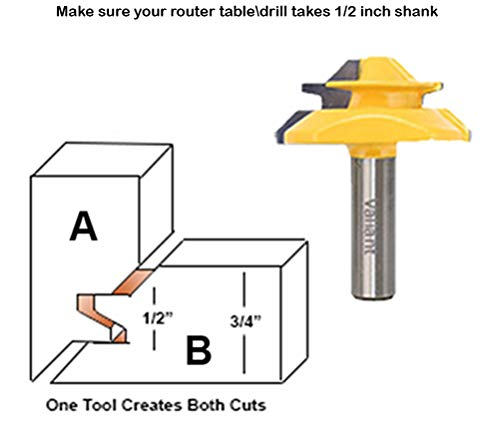 Valiant 45° Lock Miter Router Bit with 1/2 Inch Shank for sale  Delivered anywhere in UK