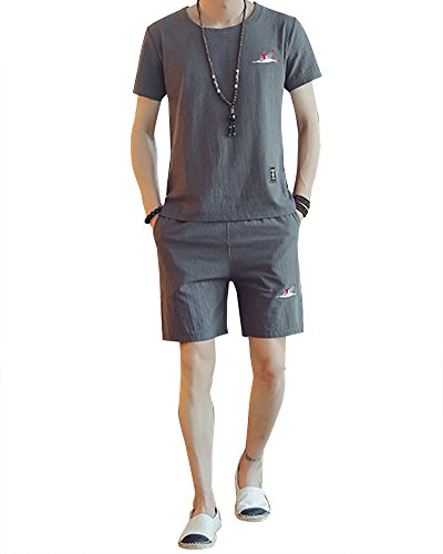 Herren Atmungsaktiv Sportanzug Zweiteiliger T-Shirt Kurzarm + Kurz Sporthose Leinenanzug XL Rauchfarben