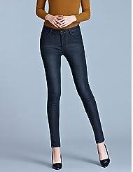 PU&PU Femme simple Street Chic Taille haute strenchy Skinny Jeans Pantalon,Crochet Slim Couleur Pleine