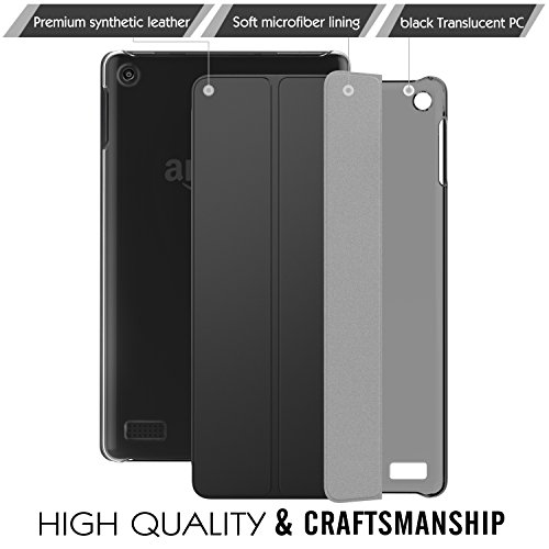 MoKo Ultra Lightweight Slim shell Stand Cover with Translucent Frosted Back for Fire 7 2017 parent.