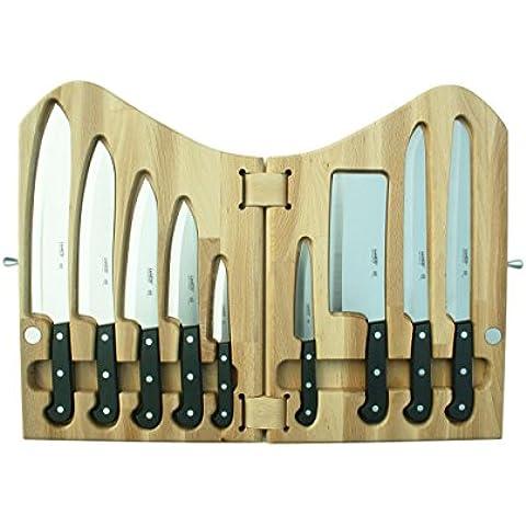 Lanius 3300, Collezione Perla, Ceppo a Libro in legno pz. 9 Coltelli Cucina Professionali, manico in POM - Made in Italy