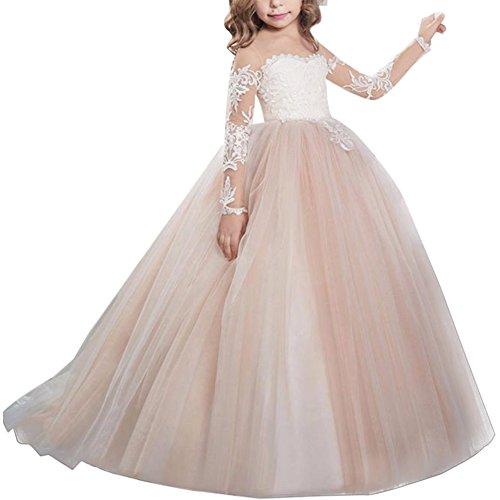 IWEMEK Blumenmädchen Kleid Hochzeit mit Appliques Mädchen Lace Up Tüll Festzug Abendkleid...