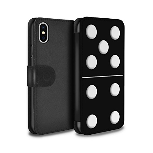 Stuff4 Coque/Etui/Housse Cuir PU Case/Cover pour Apple iPhone X/10 / Tuile Blanc 5/1 Design / Domino/Dominos Collection Tuile Noir 5/4