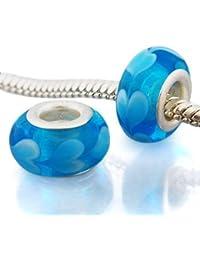 Andante-Stones - plata Sterling de ley 925, vidrio Murano, cuenta azul con corazones para cuentas European Beads + saco de organza