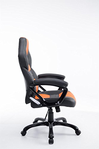 CLP Racing Bürostuhl Pedro XL, Gaming Stuhl mit Kunstleder-Bezug, höhenverstellbar 46-56 cm, max. belastbar bis 150 kg, Chefsessel mit hochwertiger Polsterung, schwarz/orange