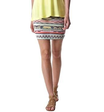 Promod Mini-jupe femme motif aztèque Imprimé Corail 3