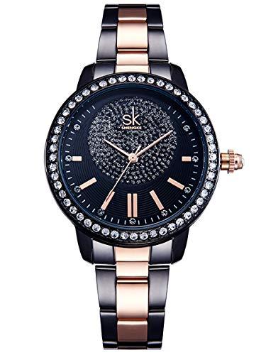 Alienwork Damen-Armbanduhr Quarz schwarz mit Edelstahl Metallarmband Strass-Steinen Glitzer elegant