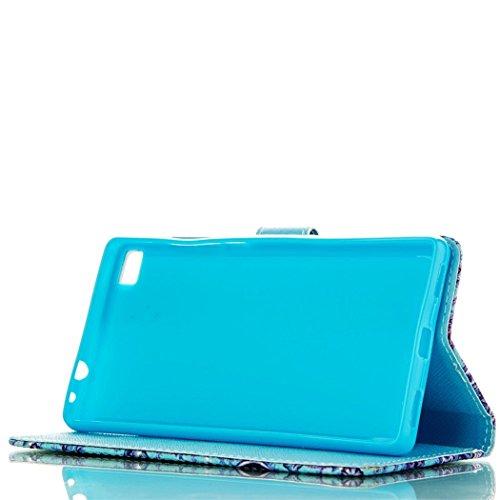 Flip Case mit Magnetverschluss für Apple iPhone 5C - Aohro Premium PU Leder Stand Case Wallet Brieftasche Ledertasche Schutzhülle Tasche + Staub Stecker + Stift - Muster Elefant Blaue Blumen