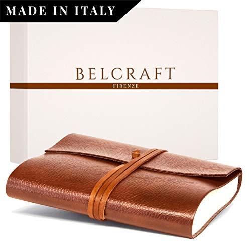 Tivoli Diario/Taccuino in Pelle riciclata, Realizzato a mano da Artigiani Toscani, Include Scatola Regalo, A5 (15x21 cm) Marrone Chiaro