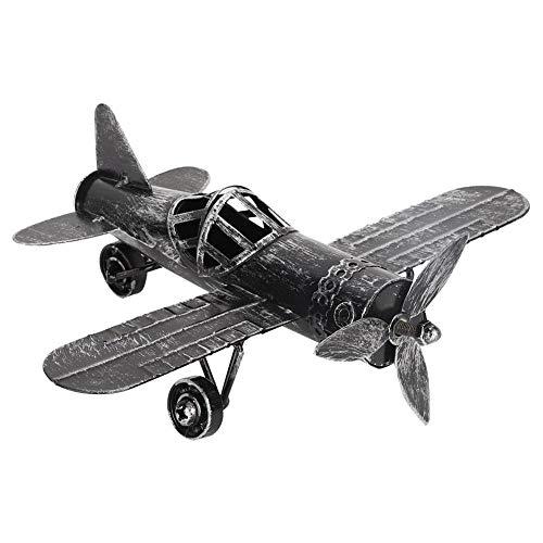 FTVOGUE Vintage Flugzeug Modell Dekor Foto Requisiten Schmiedeeisen Flugzeug Doppeldecker Für Home Office Bar Cafe(Black) (Spielzeug Flugzeuge Vintage)