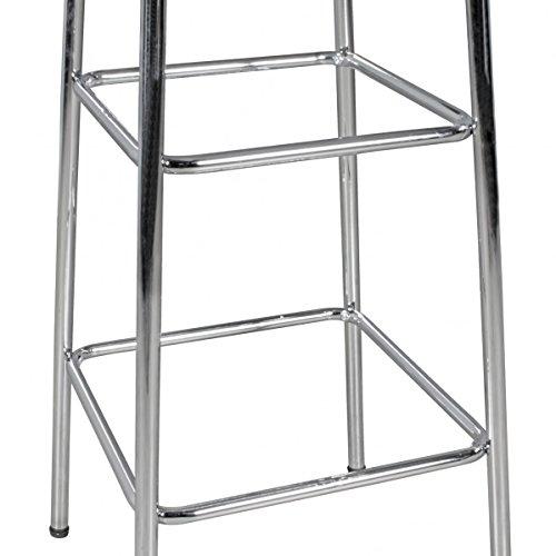 FineBuy KING - American Diner Bartisch 60 x 60 x 100 cm quadratisch aus MDF / Aluminium   Retro Stehtisch USA in Weiß / Silber   Robuster Bistrotisch im Stil der 50er Jahre   Party Bar Möbel Tisch mit Untergestell aus verchromtem Alu - 6