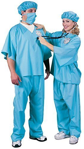 Unisex Scrubs Krankenschwester Doktor Erwachsenen Uniform Kostüm Beruf Job Notdiensten (Krankenschwester Kostüm Scrubs)