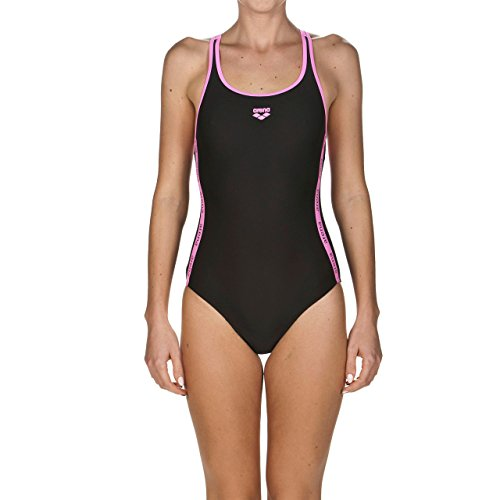 arena Damen Sport Badeanzug Hyper (Schnelltrocknend, UV-Schutz UPF 50+, Chlor- /Salzwasserbeständig), Black-Paparazzi (509), 42