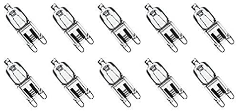 10 Pack Crystal Clear Lense Q75/G9/CL/240V G9 JCD 75 Watt 240 Volt T4 JD Type Halogen House Hold Light Bulb Hanging Pendant Capsule Lamp Chandelier Globe UK EU Looped Pin Fixture Replacement 75W 240V