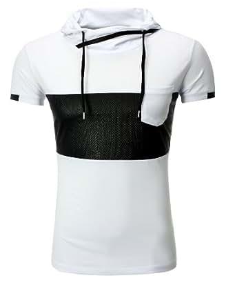 Herren T-Shirt mit hohem Kragen Schalkragen und Kunst