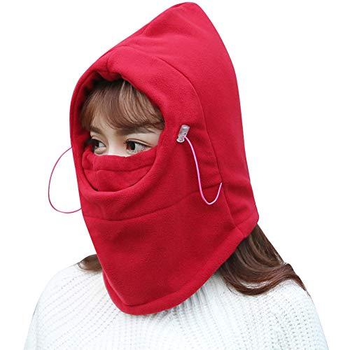 Winter Fleece Hoods Men And Women Windproof Riding Cold Hood Dustproof Warm Maske Equipment,red ()