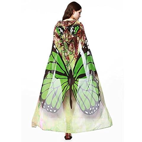 Femmes Echarpes Châle,NPRADLA 1PC Femmes Nouveauté Imprimer en mousseline de soie d'aile de papillon Cape Écharpe paon Poncho Shawl Wrap (vert)