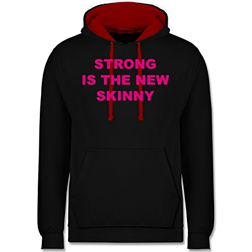 CrossFit & Workout - Strong is the new skinny - Kontrast Hoodie Schwarz/Rot