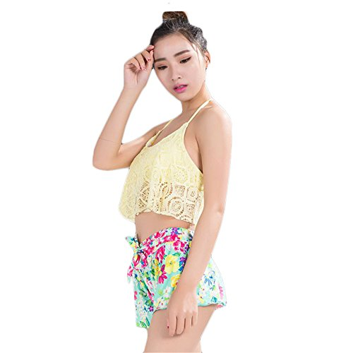 COCO clothing Spitze Gefüttert Rückenfreie Bedrucktes Neckholder Frauen 3 Stück Bikini Set Beachwear Damen Badeanzug Gelb
