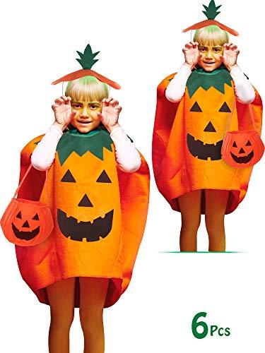 Kostüm Kürbisse - SATINIOR 6 Stücke Kürbis Kostüm Set für Kinder Halloween Cosplay Kleidung mit Tasche Hut