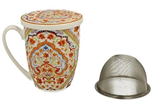 Tee-Tasse Teebecher Set mit Sieb und Deckel Porzellan | Espania | Teetasse Geschenk-Tasse Cup with metal infuser 320 ml von DUO in Geschenkbox (Mit Tee-tasse Infuser)