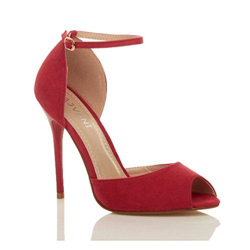 Femmes talon haut aiguille sangle de cheville boucle sandales chaussures peep toe escarpins pointure Daim rouge