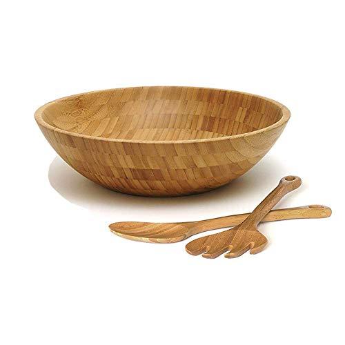 Saladier en bambou avec ustensiles de service Bois Saladier rond-Grand Ensemble de 3