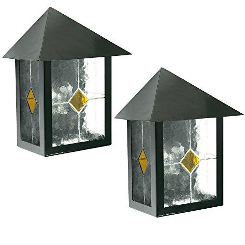 2er Set Wand Außen Leuchte Balkon Terrassen Beleuchtung Strahler Tiffany Dekor Glas 1-flg -