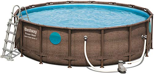 Bestway Power Steel Swim Vista Deluxe Frame Pool rund mit stabilem Stahlrahmen im Komplett-Set, Rattanoptik, 488x122 cm