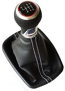Roter Ring Do!LED Schaltknauf Schaltsack Schaltmanschette Rahmen 5 Gang Chrom Look wei/ße Naht