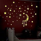 Fairlove Autocollants 3D Lumineux Stickers Muraux -Avec Motif Lune Et Etoiles -Fluorescents Et Lumineux Dans L'obscurité-DIY Décoration Maison Art Mur-Chambre De Bébé /Enfant /Fille /Garçon /Idéal Cadeau-2