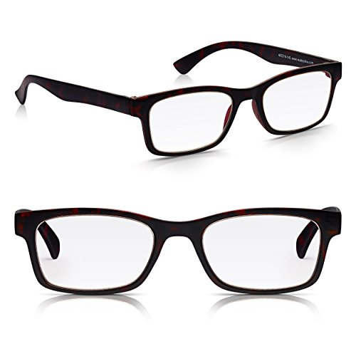 Read Optics Dos Pares Hombre/Mujer Gafas de Lectura Presbicia - Lentes para Leer +2.00 Dioptrías (desde +1 hasta +3.5) – Irrompibles de Policarbonato Estilo Wayfarer Retro en Marrón Oscuro Tortoise
