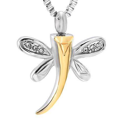 OTGOOT Urne Urnen Anhänger Urne Halskette Urne Halskette Dragonfly Memorial Asche Halter Andenken Urnen Halskette Anhänger Edelstahl Feuerbestattung Haustier Schmuck für Frauen