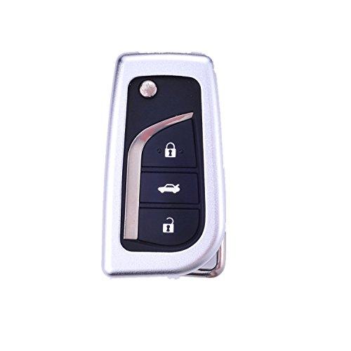 [M. JVisun] auto keyless entry chiave cover Fob Skin per Toyota Levin Camry Highlander Corolla Rav4Fortuner chiave pieghevole, in alluminio guscio protettivo in vera pelle con portachiavi, Silver