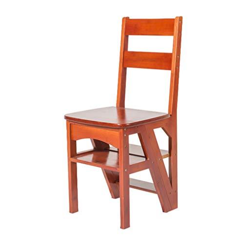 Klappstufen Leiterhocker Massivholz-Tritthocker für Heimfunktions-Klappstuhlplatz vierstufiger Klappstuhl für Innen, aufsteigende Leiter tragend 150kg Blumentreppen ( Color : Red , Size : 40*39*90cm )