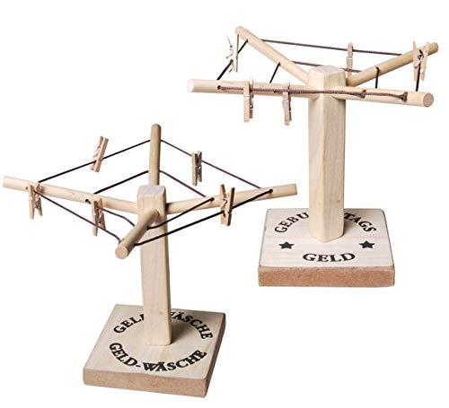 Udo Schmidt 34850 Geld Wäschespinne mit Klammern Geldgeschenk Holz Bodenplatte mit doppelter Aussage: Geburtstagsgeld / Geldwäsche