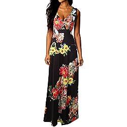 Vestidos Mujer Verano 2018 EUZeo Casual Floral sin Mangas Vestidos Modern Largos Vestidos Playa Mujer Vestidos Elegante Mini Vestido Corto cóctel Traje de Fiesta (XL, Negro 2)